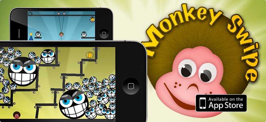 MonkeySwipe iPhone puzzle action game for iPhone and iPod